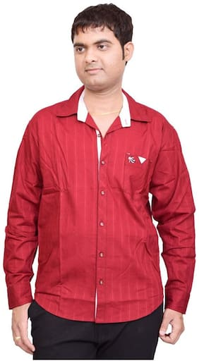 British Terminal Stylish Red Cotton Blend Slim Fit Solid Casual Shirt