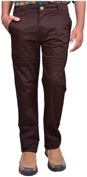 British Terminal Men Brown Solid Regular fit Chinos