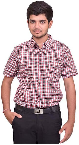 British Terminal Men Red Checked Slim Fit Casual Shirt