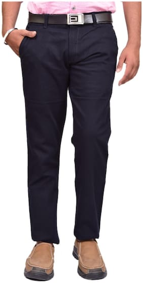 British Terminal Navy Linen Slim Fit Casual Trouser