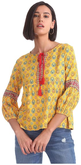 Women Printed Round Neck Top