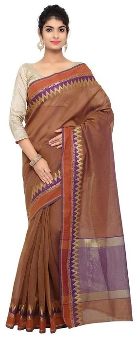 Brown Cotton Chanderi Saree with Cotton Chanderi Blouse Piece
