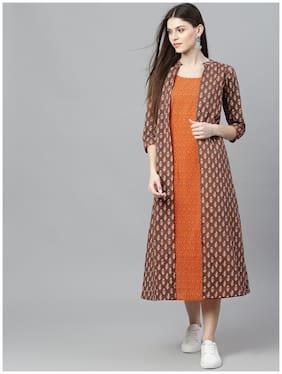 AKS Brown & Orange Printed Layered Dress