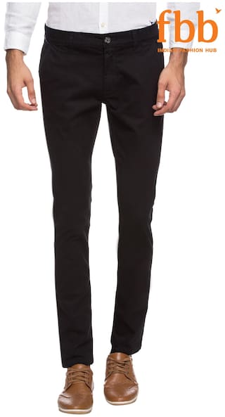 8dc9b9a6a6a Buy Buffalo Black Solid Chinos Online at Low Prices in India ...