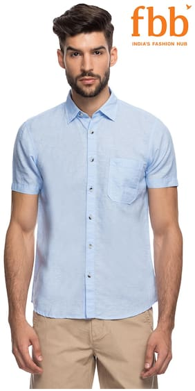 Buffalo Blue Solid Regular Fit Casual Shirt