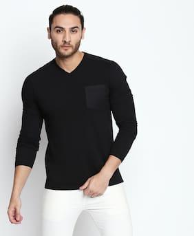 Buffalo Men Regular fit V neck Dyed T-Shirt - Black