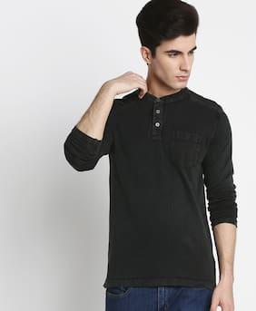 Buffalo Men Regular fit Henley neck Solid T-Shirt - Black