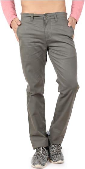 Buffalo Men Solid Casual Trouser Grey