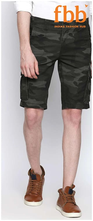 5c0cc6dccb Buy Buffalo Mens Green Camouflage Print Cargo Shorts Online at Low ...