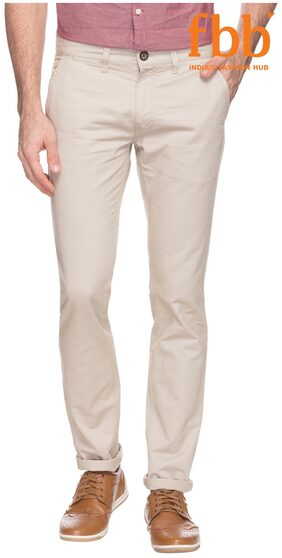 Buffalo Tapered Fit Men's Cream Casual Trousers