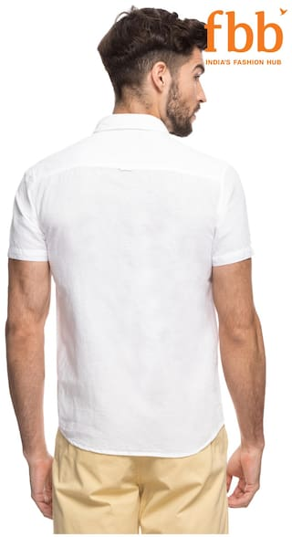 Slim White Shirt Casual Buffalo Solid Fit Jbl4dQmQK6