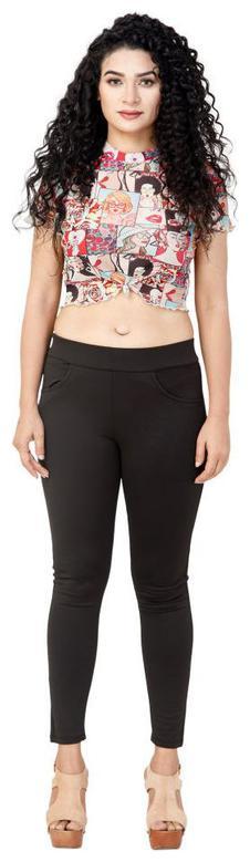 Bufzone Lycra Solid Black Jeggings For Women