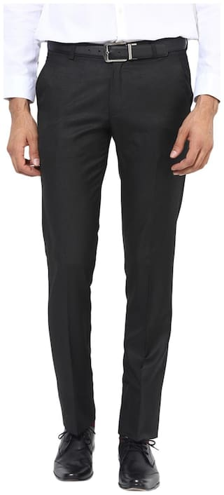 BUKKL Men Solid Slim Fit Formal Trouser - Black