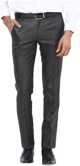 BUKKL Black Viscose Slim Fit Formal Trouser