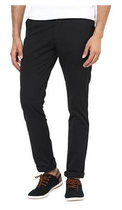 BUKKL Black Slim Fit Casual Trouser