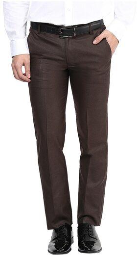 Bukkl Slim Fit Coffee Formal Trousers