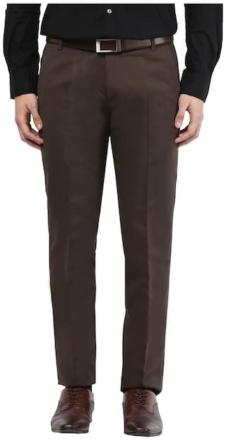 BUKKL Men Solid Slim Fit Formal Trouser - Brown