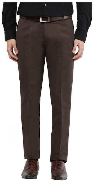 BUKKL Men Solid Slim Fit Formal Trouser - Grey