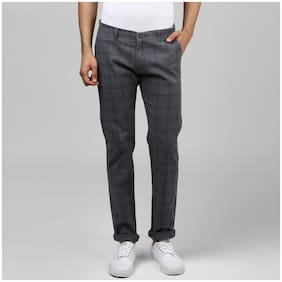 BUKKL Checked Tapered Fit Stretchable Cotton Chinos For Men