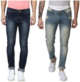 BUKKL Combo Men's Stretchable Slim Fit Jeans ( Pack of 2)