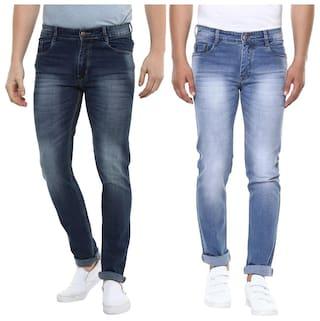 BUKKL combo Men's Stretchable Slim Fit Jeans ( Pack of 2)