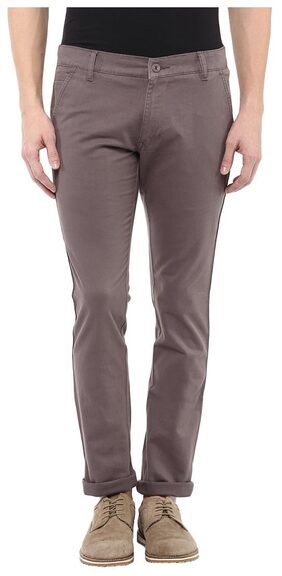 BUKKL Grey Stretchable Slim Fit Casual Chinos