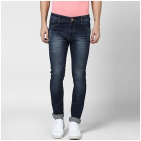 BUKKL Men's Mid Rise Slim Fit Jeans - Blue