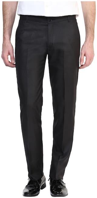 BUKKL Men Solid Slim Fit Formal Trouser - Black