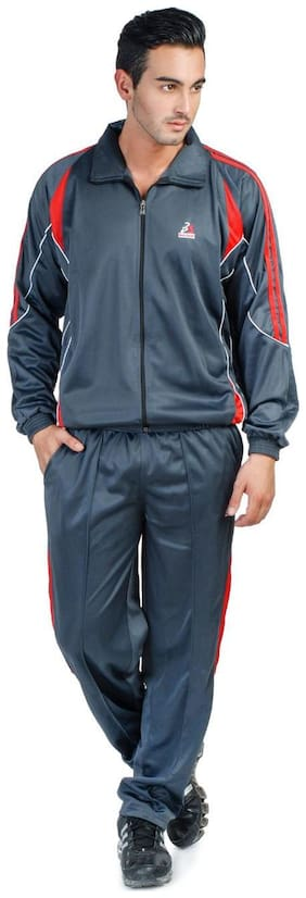 Bull Sport Men Blue Solid Regular Fit Track Suit