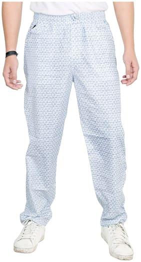 BURBN Men Cotton Printed Pyjama - White