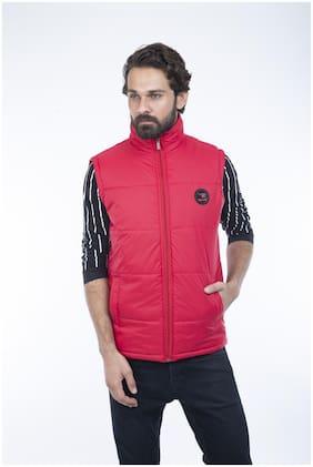 Burdy sleeveles solid men fancy jacket -Red