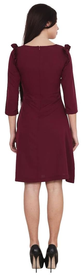 Burgundy A Line length knee crepe dress UYUqr7
