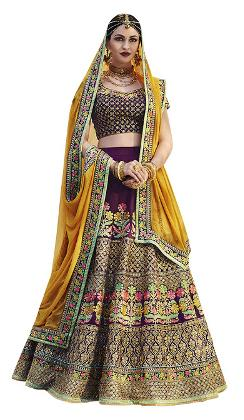 Buy Banglori Silk Wine & Yellow Heavy Replica Lehenga Choli
