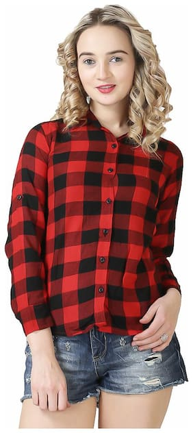 BUY DIFFERENT Women Regular Fit Checked Shirt - Red