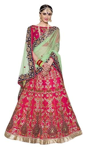 535925846eabb8 Buy Kreckon Georgette Flared Lehenga Choli - Green Online at Low ...