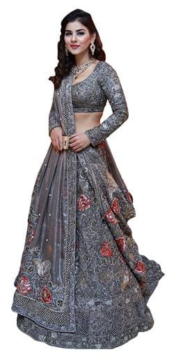 6bbc66c6ed Buy Kreckon Net Flared Lehenga Choli - Grey Online at Low Prices in ...