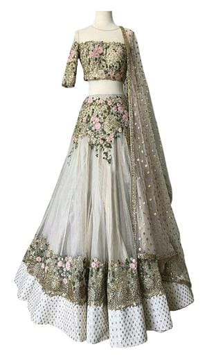bfc1e2c551 Buy Kreckon Net Flared Lehenga Choli - White Online at Low Prices in ...