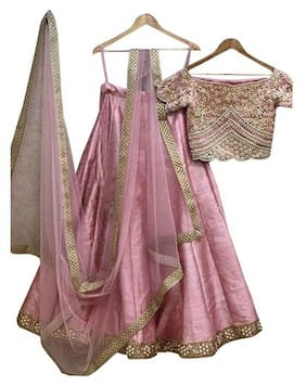 Kreckon Silk Flared Lehenga Choli - Pink