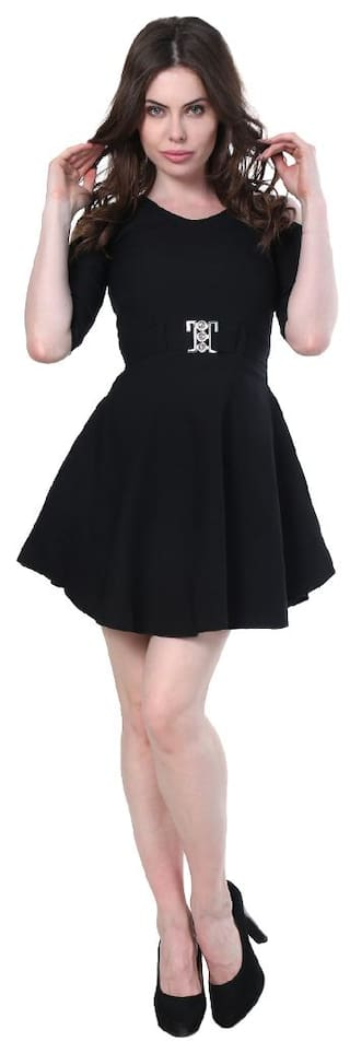 Partywear Cut Dress Shoulder Short Black For Cotton BuyNewTrend Lycra Women Y5OZxxw
