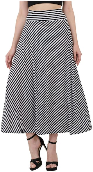 BuyNewTrend Black N White Hosiery Lycra Striped Asymmetrical Skirt For Women
