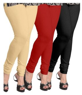 Buynewtrend Beige Maroon Black Cotton Legging For Women/girls Pack Of 3