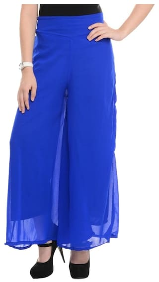 Palazzo Royal Blue For Women Georgette Buynewtrend RUqwAzO