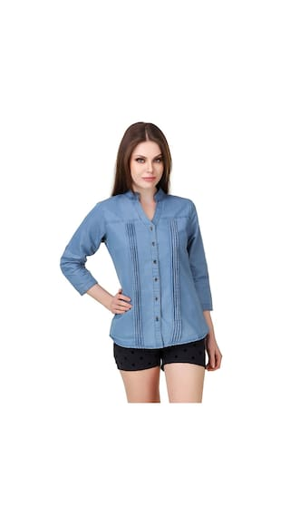 Buynewtrend Denim Blue Shirts For Women
