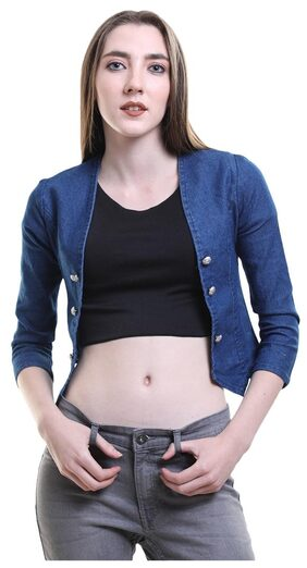 BuyNewTrend Dark Blue Denim Blue Shrug/Jacket For Women