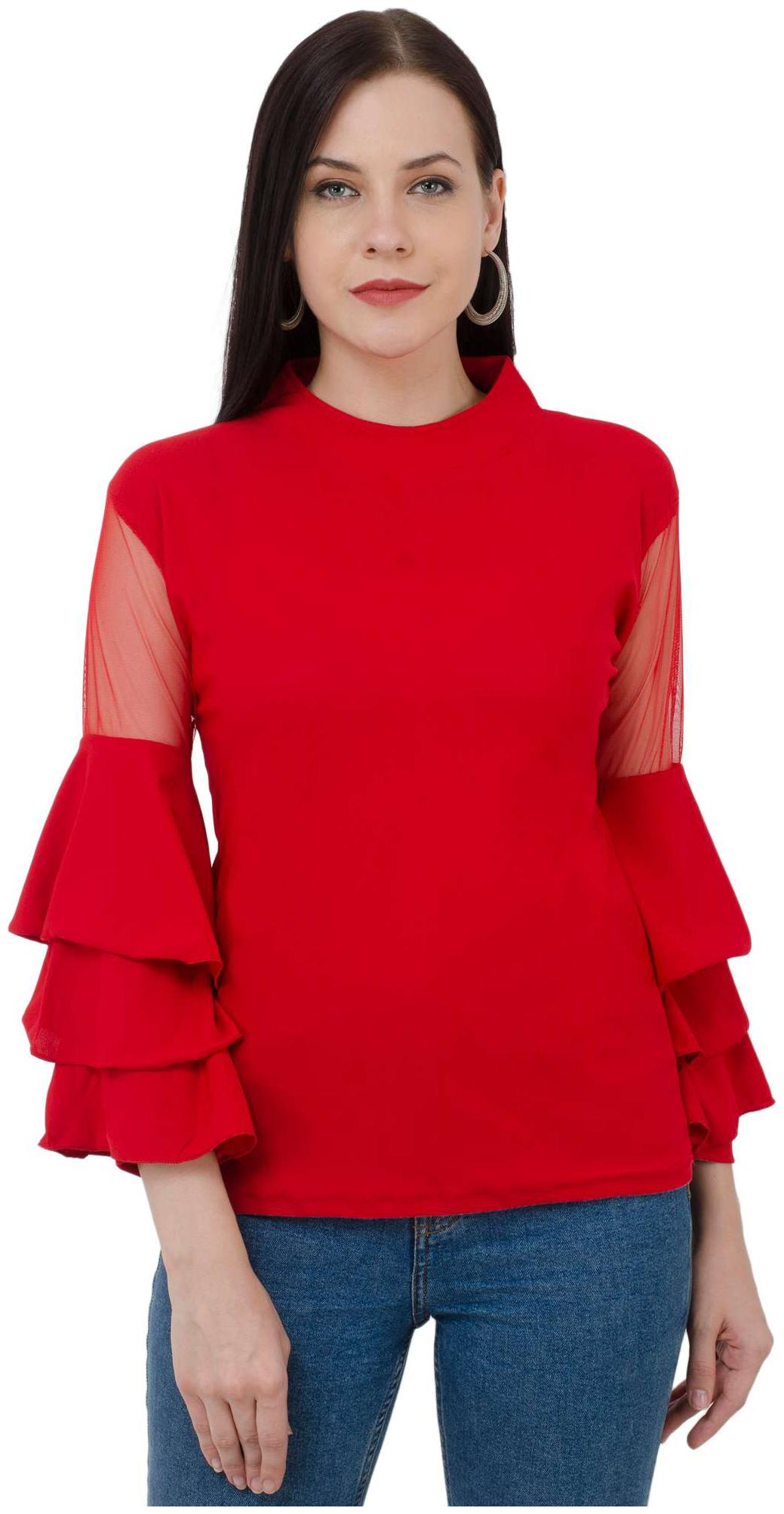 BuyNewTrend Red Bell Sleeve Crepe Top For Women by Dimpy Garments