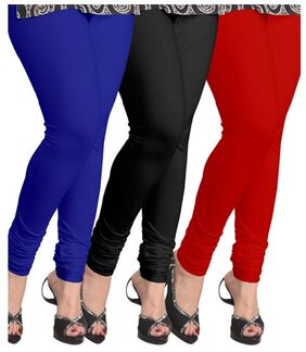 Buynewtrend Roayl Blue Black Red Cotton Legging For Women/girls Pack Of 3