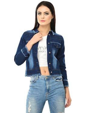 BuyNewTrend Denim Blue Full Sleeve Women Jacket