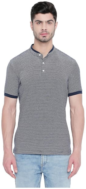 Men Polo Collar Striped T-Shirt ,Pack Of Pack Of 1