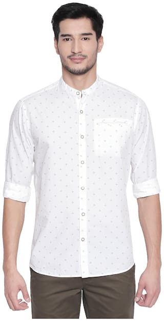 Byford By Pantaloons Men White Printed Slim Fit Casual Shirt