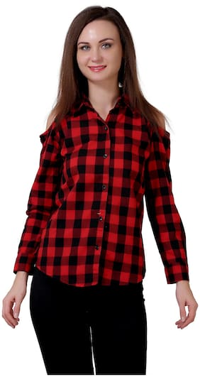 C.Cozami Women Regular Fit Checked Shirt - Red